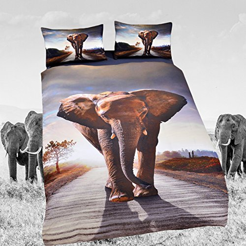 Sleepwish 3D African Duvet Cover 3 Piece Elephant Duvet Cover Nature Elephant Bed Set King Size