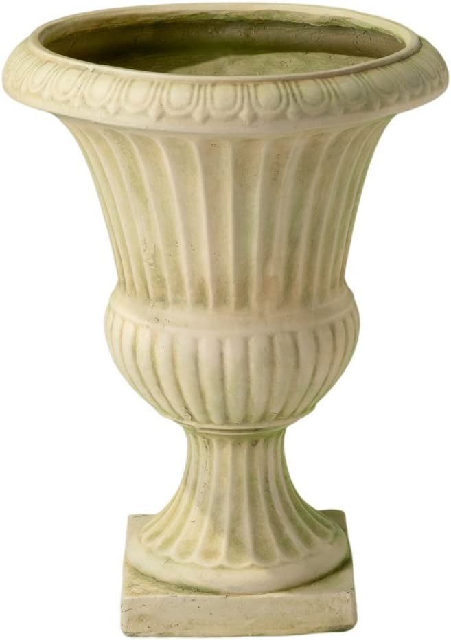 Ulysses 22.5 in. White with Green Moss Urn Planter