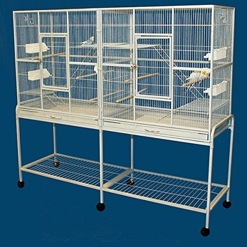 Double Birdhouse Treehouse Bird Cage and Flight Cage - 63''W x 19