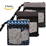 NiceEbag 3 pcs Baby Wet and Dry Cloth Diaper Bags Travel Nappy Organizer Bag Waterproof Reusable with Two Zippered Pockets(Blue Arrow and Black and Grey)
