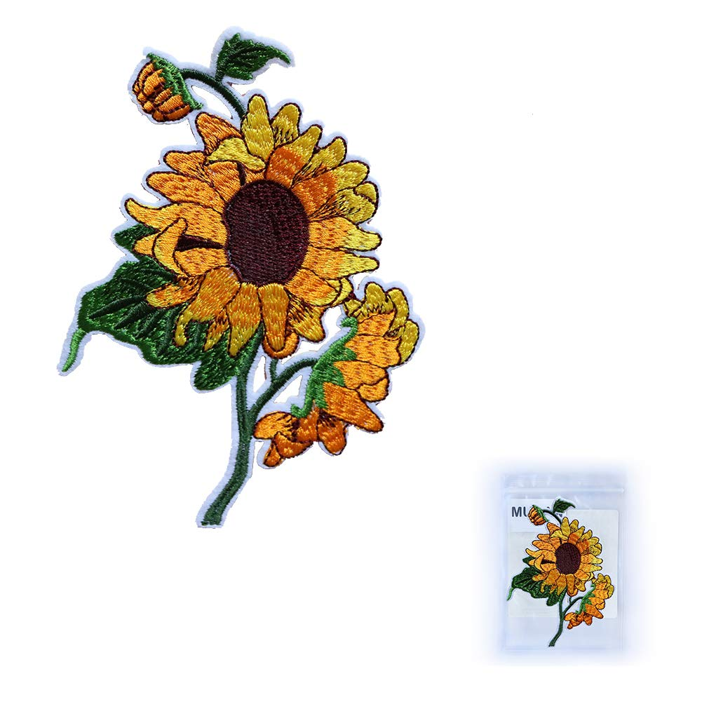 MUNAN Embroidered Patches Sunflower Patche Iron On Sewing Badge Applique for Clothes Jacket Jeans Cap