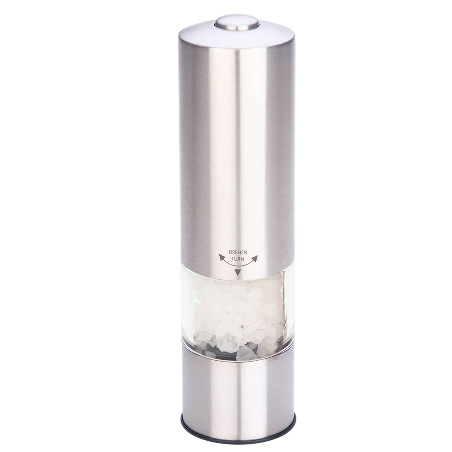 MIU France Stainless Steel Battery-Operated Salt Mill with LED Light 90604