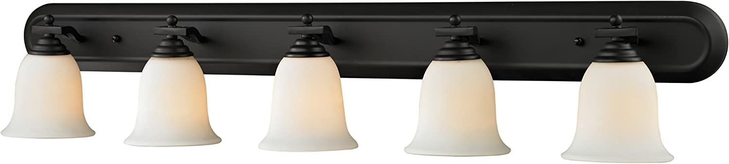 Z-Lite 703-5V-MB Lagoon Five Light Vanity Light, Steel Frame, Matte Black Finish and Matte Opal Shade of Glass Material
