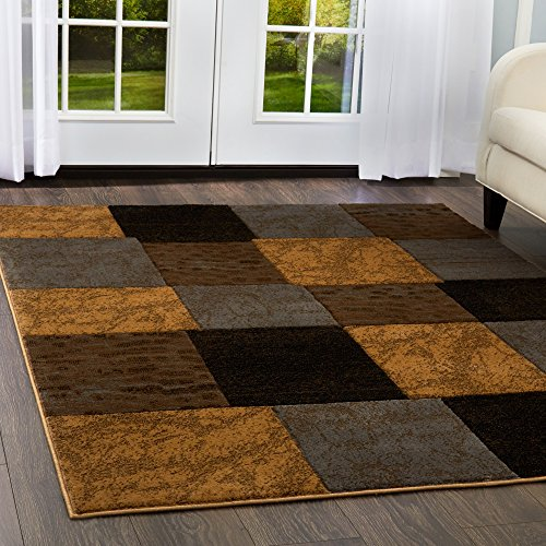 Home Dynamix Tribeca Briar Area Rug | Contemporary Living Room Rug | Modern Geometric Pattern | Rich Living Room Colors | Brown, Gray 7'10 x 10'6