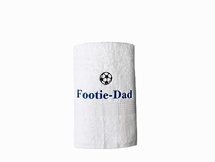 Bordado Dad blanco toalla de mano con diseño de balón de fútbol de