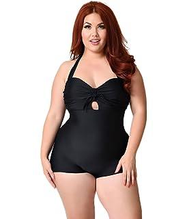 c905a687337a92 Unique Vintage Plus Size Retro Style Black One-Piece Garbo Halter Swimsuit