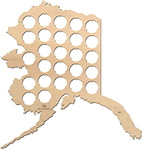 All States Beer Cap Map Alaska – 12,7x13,4 inches – 26 caps – Alaska Beer Cap Holder – Birch Plywood