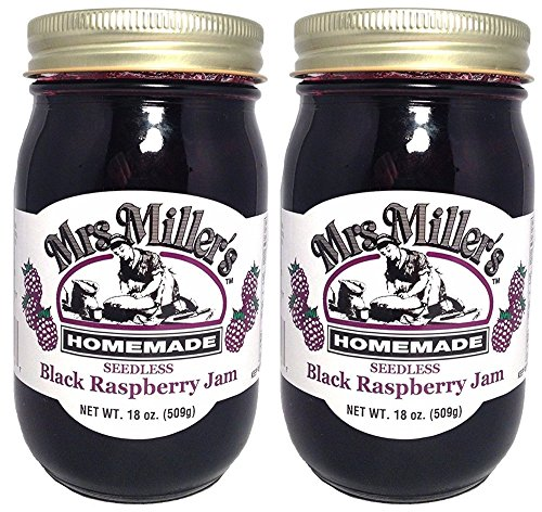 Just Jam - HUGE 18 oz Mrs. Miller's Seedless Black Raspberry Jam, Amish and Homemade! (Pack of 2)