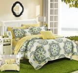 What Size Is a California King Bed Chic Home Madrid 4 Piece Reversible Quilt Set Super Soft Microfiber Large Printed Medallion Design with Geometric Patterned Backing Bedding Set with Decorative Pillow and Sham, King Yellow