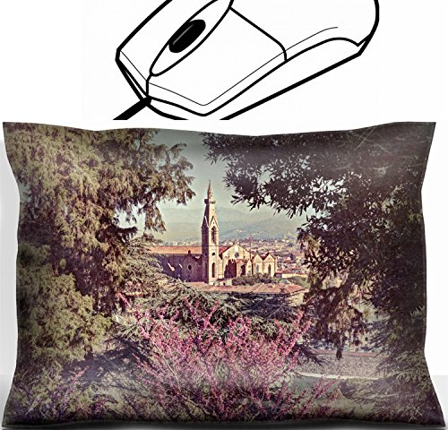 MSD Mouse Wrist Rest Office Decor Wrist Supporter Pillow design 26574239 view of the cathedral Santa Croce in Florence Tuscany Italy framed with green leaves and flowers image filtered to simula