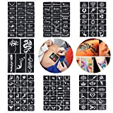 Xiangfeng 160 Mini Sheets Self-adhesive Tattoo Stencils Template Indian Painting Stencil Tattoo for Body Art Painting Glitter Airbrush Tattoo