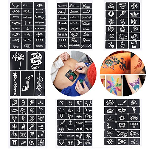 Xiangfeng 115 Mini Sheets Self-adhesive Tattoo Stencils Template Indian Painting Stencil Tattoo for Body Art Painting Glitter Airbrush Tattoo,Style Random by Xiangfeng