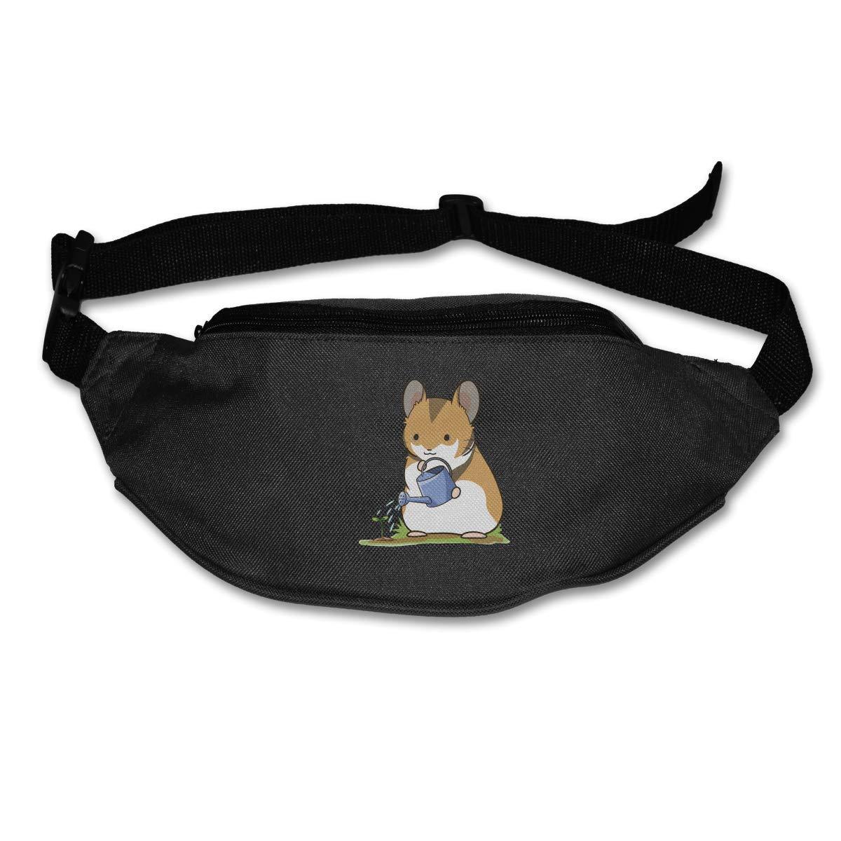 Waist Purse Cute Hamster Watering Flowers Unisex Outdoor Sports Pouch Fitness Runners Waist Bags