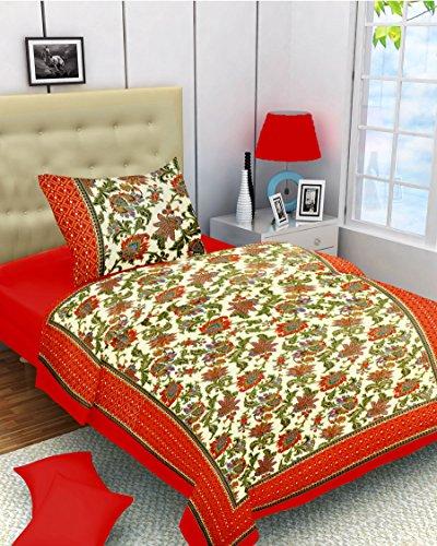Lali Prints Orange Beautiful Designer 1 Single Bedsheet with 1 Pillow Cover
