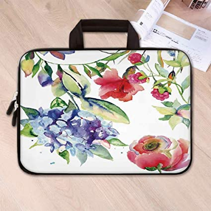 c1ac46888358 Amazon.com: Art Anti Seismic Neoprene Laptop Bag,Summer Flowers ...