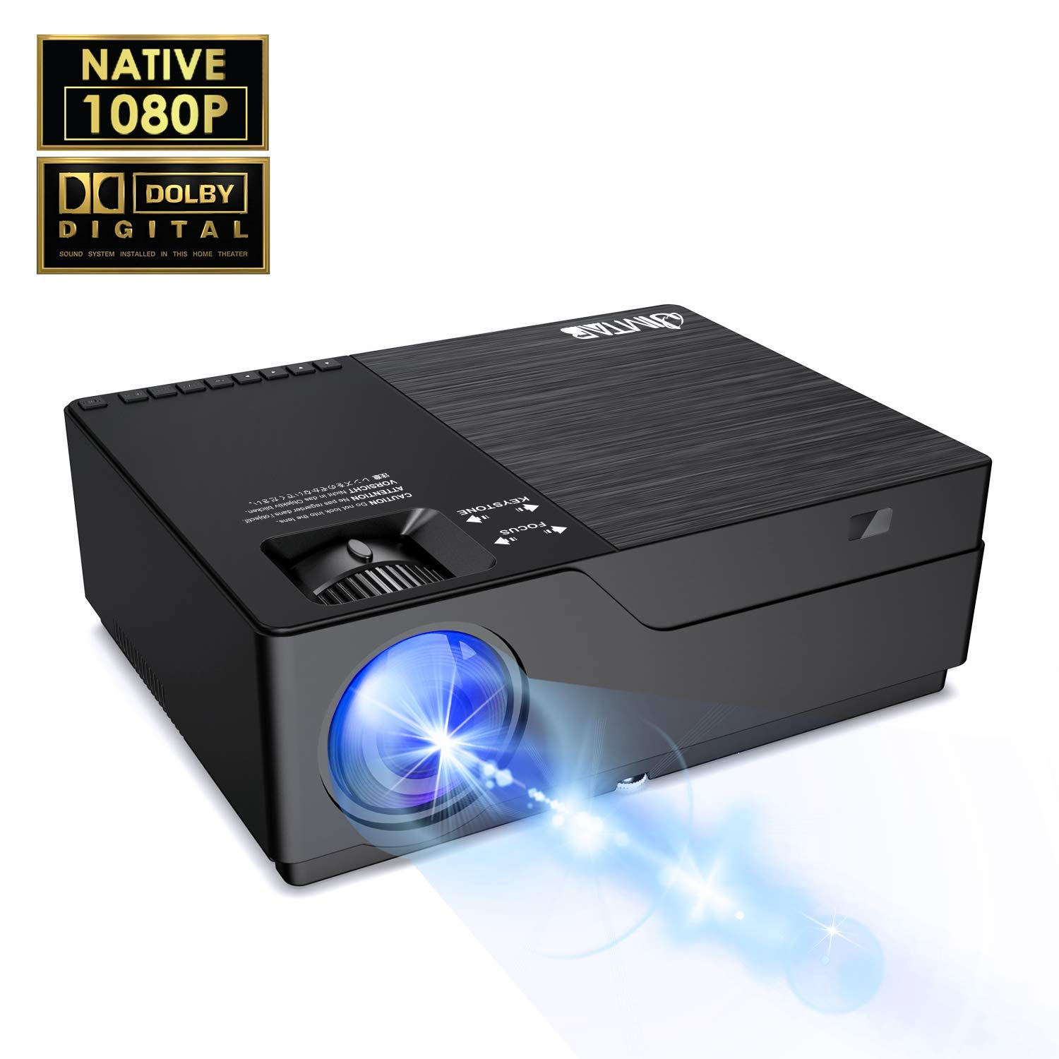 "JIMTAB M18 Native 1080P LED & Video Projector, 4500 Lux HD Projector with 300""Display Support AV,VGA,USB,HDMI, Compatible with Xbox,Laptop,iPhone and Android for Academic Display (Dark Star)"