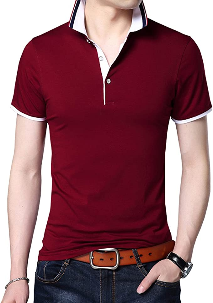 Mens Pique Polo T Shirt Striped Short Sleeved Top Collared Casual Summer Fashion