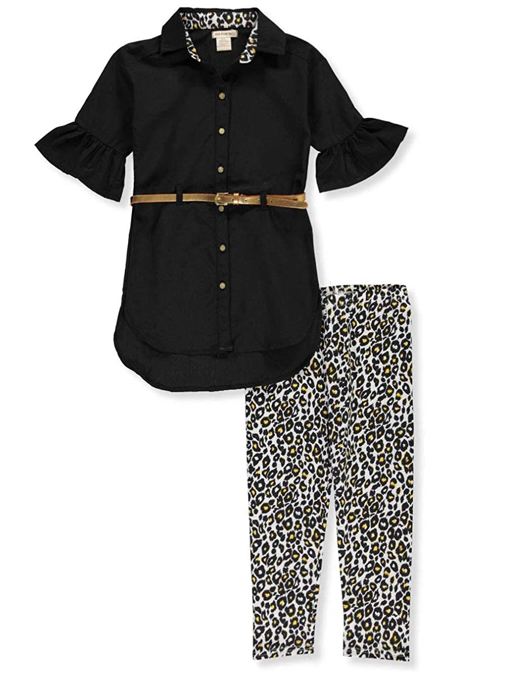 One Step Up Girls Ruffle Leopard Belted 2-Piece Leggings Set Outfit