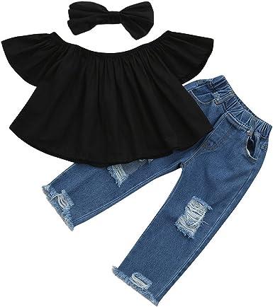 Fashion Toddler Kids Baby Off shoulder Crop Tops Hole Denim Pant Jean Headband