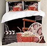 Movie Theater Twin Duvet Cover Sets 4 Piece Bedding Set Bedspread with 2 Pillow Sham, Flat Sheet for Adult/Kids/Teens, Objects of the Film Industry Hollywood Motion Picture Cinematography Concept