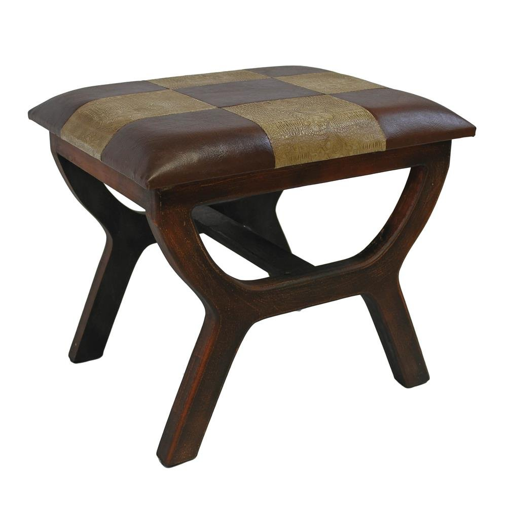 International Caravan Furniture Piece Faux Leather Rectangular Wood Stool
