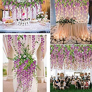 Artificial Flowers 12 Pack Fake Wisteria Hanging Garland Silk Flowers String Home Party Wedding Decor 60