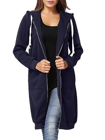 Women's Casual Zip Up Hoodie Solid Long Jacket Sweatshirt Outerwear Plus Size