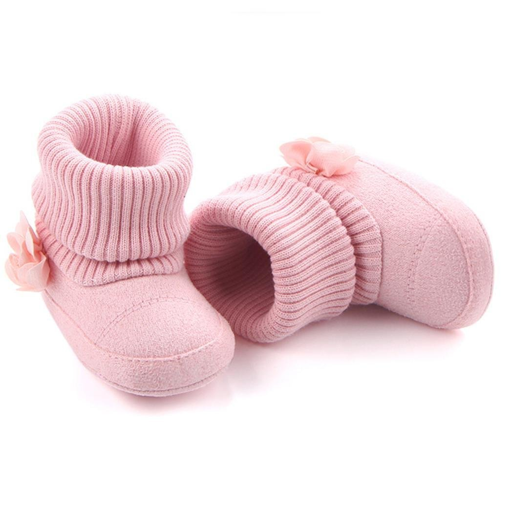 MYEDO Infant Baby Boy Girl Flower Warm Snow Boots Toddler Kid Soft Shoes Booties 0-12M