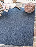 Unique Loom Outdoor Solid Collection Casual Transitional Indoor and Outdoor Flatweave Blue  Area Rug (9' x 12')