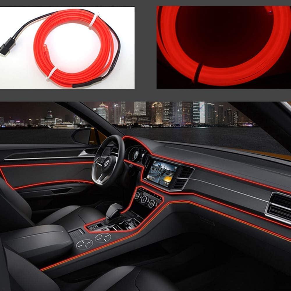 Neon LED EL cable para interior automotriz Cosplay lámpara de línea electroluminiscente LED emisora de luz decorativa con unidad de tira de luz 5V,Rojo, 1 m
