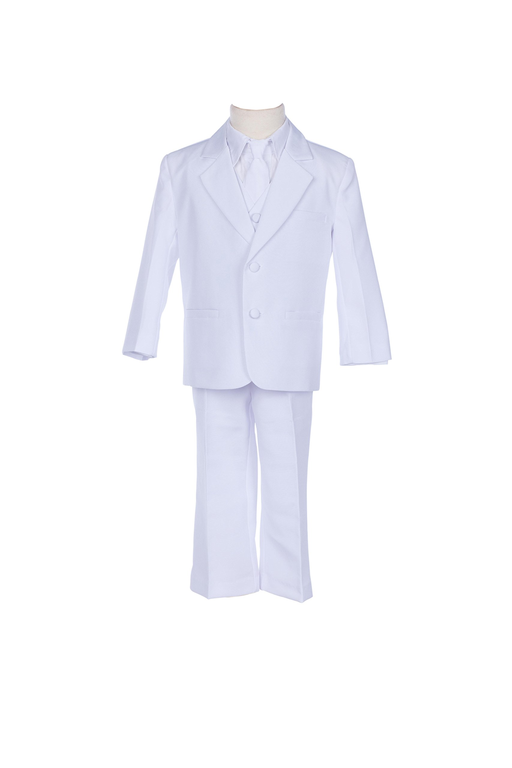 White Boy Teen Tuxedo Suit Formal 5-Piece Set For Wedding Pageant Tie 2