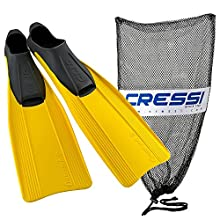 Cressi Clio Full Made in Italy Foot Fins with Bag, Yellow, EU Size 45/46 - US Men's 10/11