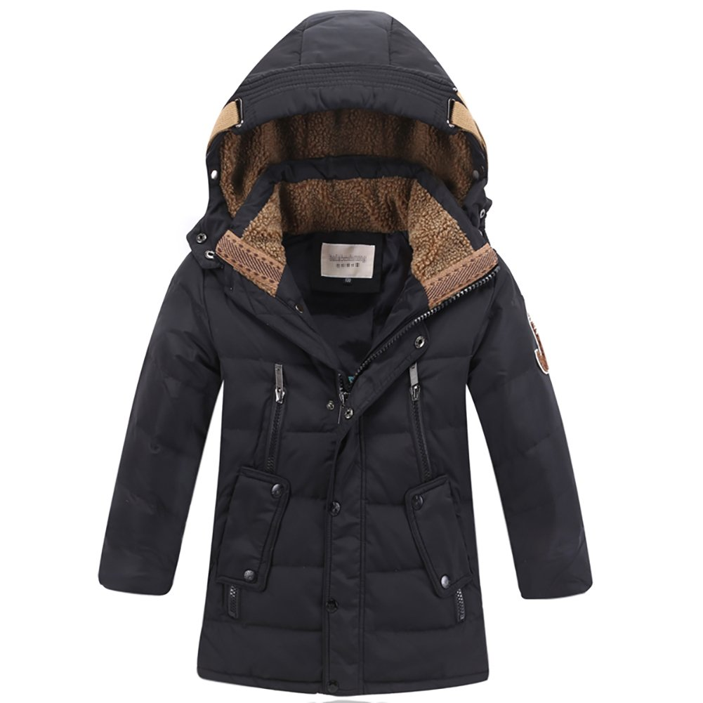 Black LISUEYNE Boys Kids Winter Hooded Down Coat Puffer Jacket for Big Boys MidLong