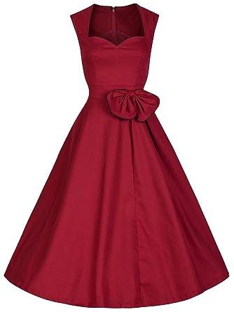 JapanAttitude Robe Rouge soble Coupe Vintage avec Noeud et sans Manches  pin-up Rockabilly  Amazon.fr  Vêtements et accessoires b78844e5c5bd