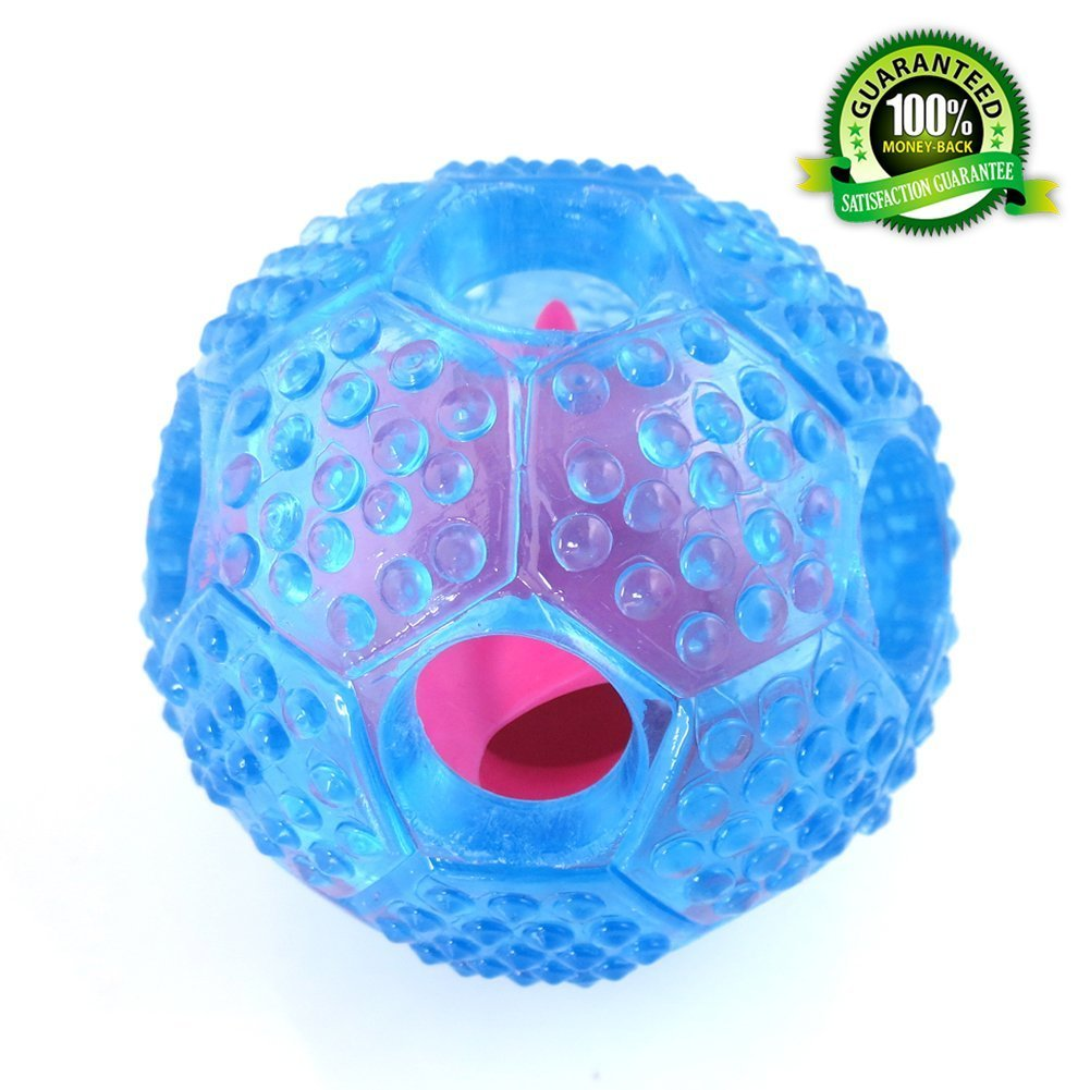Morjava Dog Balls,Pet Dog Ball Food Chew Pit Big Small Giant Dispenses Treats Durable Chuckit Thrower Launcher for Treats Extra Large Heavy Duty Dogs -blue
