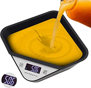LINGSFIRE Digital Food Scale with Removable Bowl, Food Scales Digital Weight Grams and Oz for Food Cooking and Baking Scale Maximum Weighing 5 KG Black (Battery Not Included)