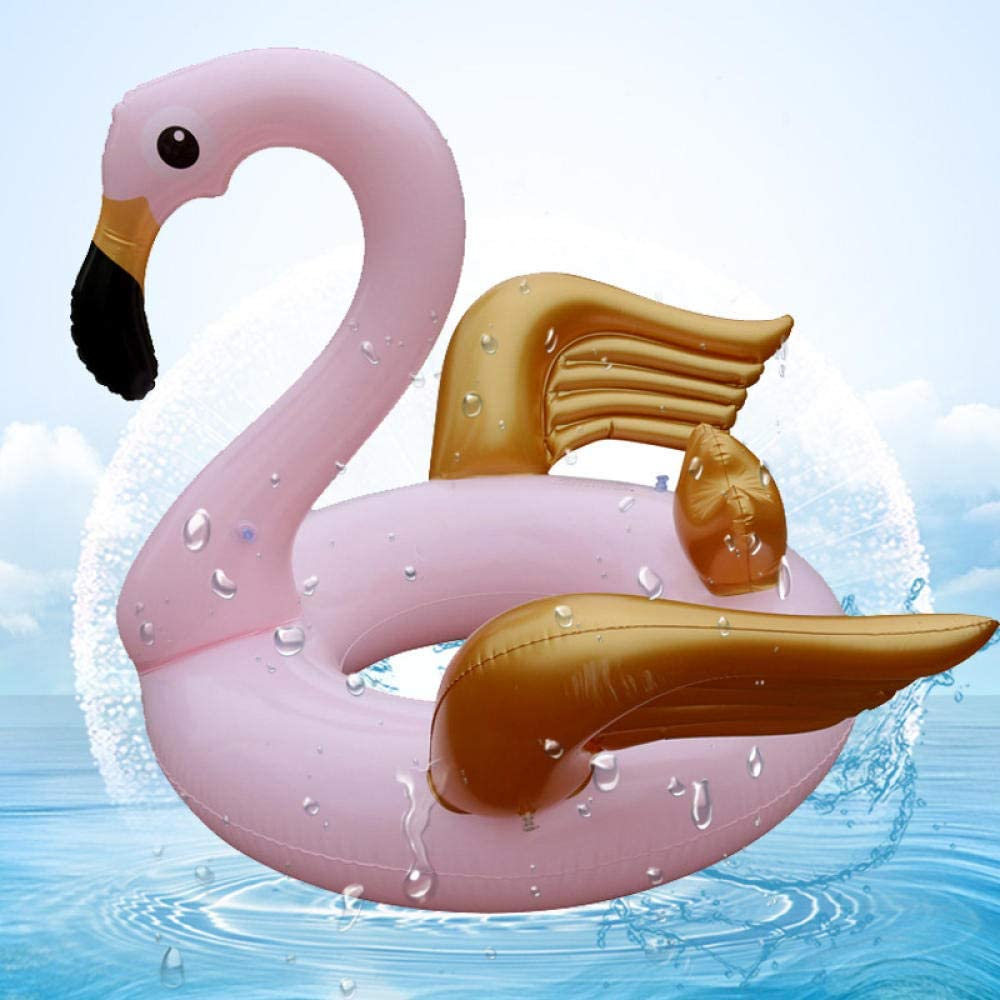 Svvsgf Tumbona Inflable de la Piscina, Anillo de natación del ala Dorada Anillo de Agua Engrosada para Adultos Anillo Inflable de la axila Salvavidas