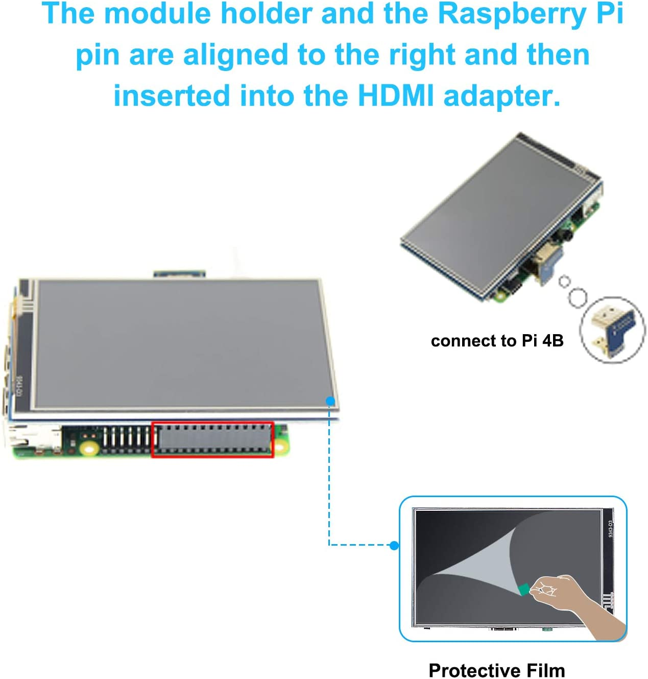 Bruphny,raspberry pi 4 pantalla táctil con la Caja IPS Display 800x480 Píxeles Touch Screen LCD Display with Protective Case,4 × Disipador,1 × Ventilador, con Lápiz Táctil para Raspberry Pi 4 Modelo B: