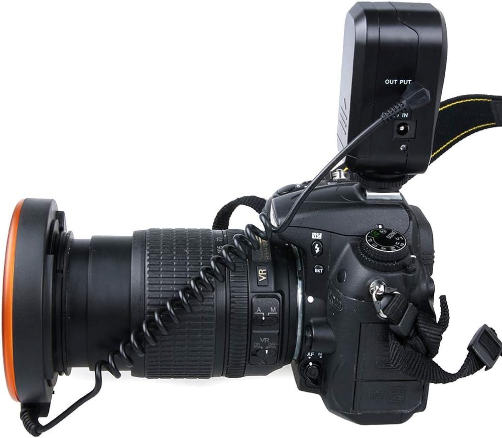 for Macro Lens Orange 49mm//52mm//55mm//58mm//62mm//67mm Color : Orange Tripless YHM Circular LED Flash Light with 48 LED Lights /& 6 Adapter Rings