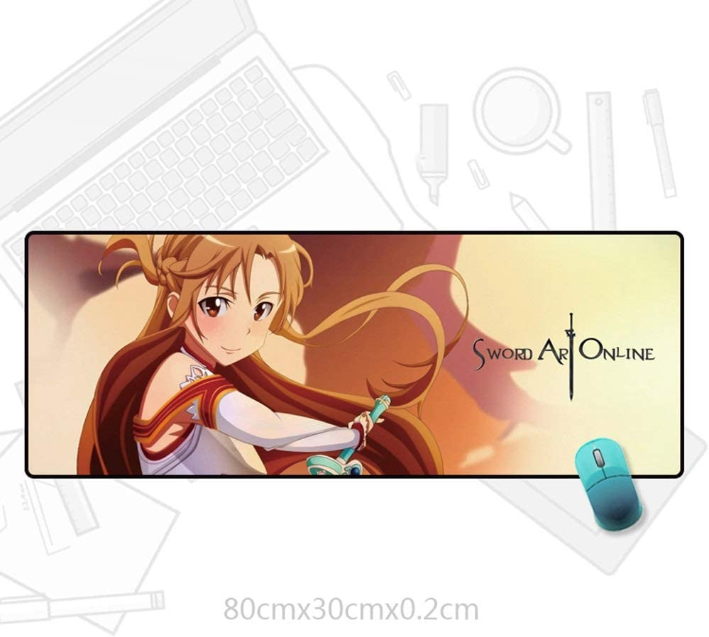 Anti-Dirty//E-Sports Gaming KaiWenLi SAO-Yuuki Asuna Earthy Background//Anime Character Cartoon Mouse Pad//Oversized Version//Waterproof Office Special Non-Slip