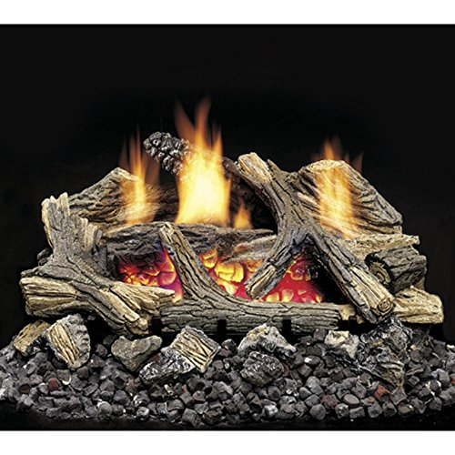 Monessen Aged Hickory Ventless Gas Logs - Remote Ready - 24 Inch - Natural Gas