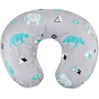 BORITAR Nursing Pillow Cover with Animal Pattern Slipcover Minky for Boys and Girls, Super Soft Fabric with White Dotted Backing, Grey