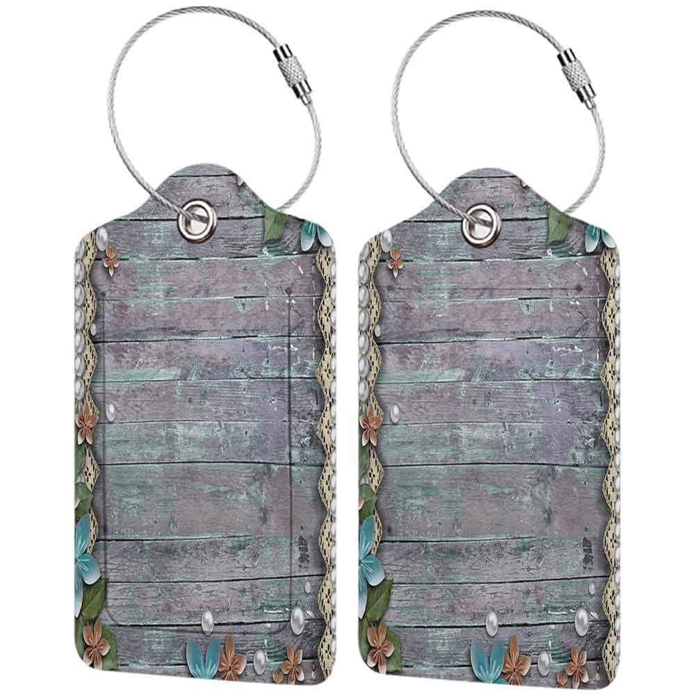 Durable luggage tag Pearls Decor Collection Floral Rustic Print with Pearls and Lace Decorative Flowers on Old Wooden Background Unisex Brown Blue W2.7 x L4.6