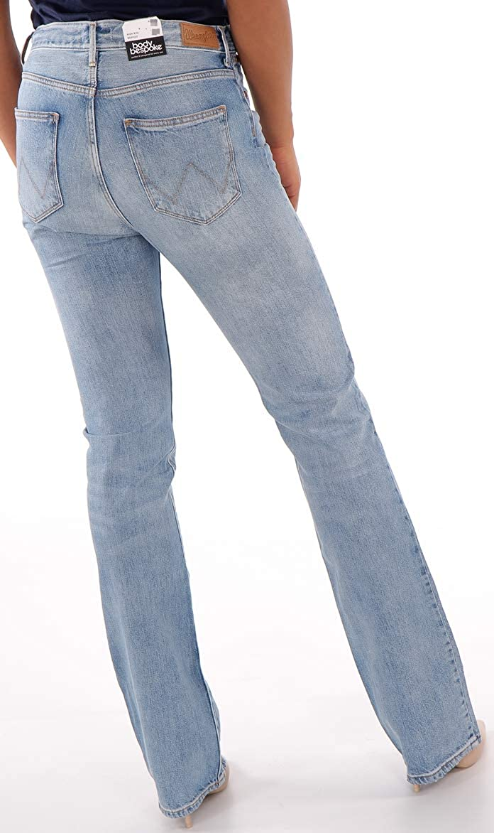 W36 Wrangler Damen Jeanshose High Rise Bootcut Fiji Glockenhosen Blau W27