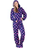 Big Feet Pjs Pink Hooded Plush Adult Womens Footed Pajamas Onesie ...