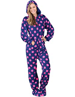Footed Pajamas Navy Pink Polka Adult Hoodie Chenille