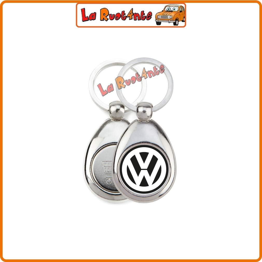 GETTONE Carrello Spesa La Ruotante 1 Portachiavi Compatibile con Volkswagen VW in Acciaio Cromato