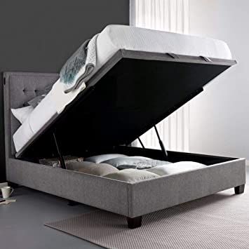 eed289f980b6 Automatic Ottoman Storage Bed, Happy Beds Cheviot Light Grey Fabric  Upholstered Modern Lift Up Storage