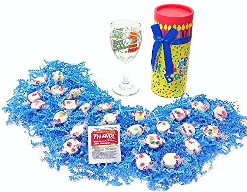 Happy Birthday Humorous Gift Pack - Brachs Nougat Candy, Wine Glass & Tylenol