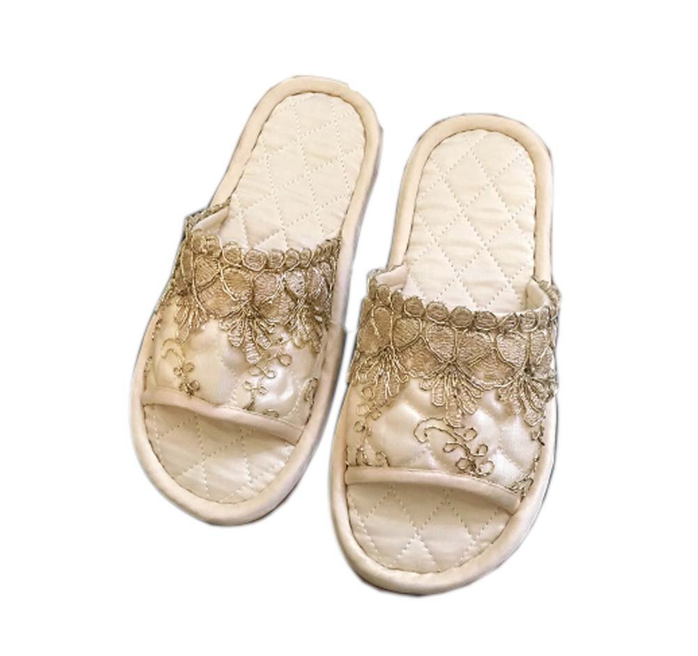 Panda Legends Champagne Macrame Embroidery Full Coverage Cloth Fashion Home Slippers